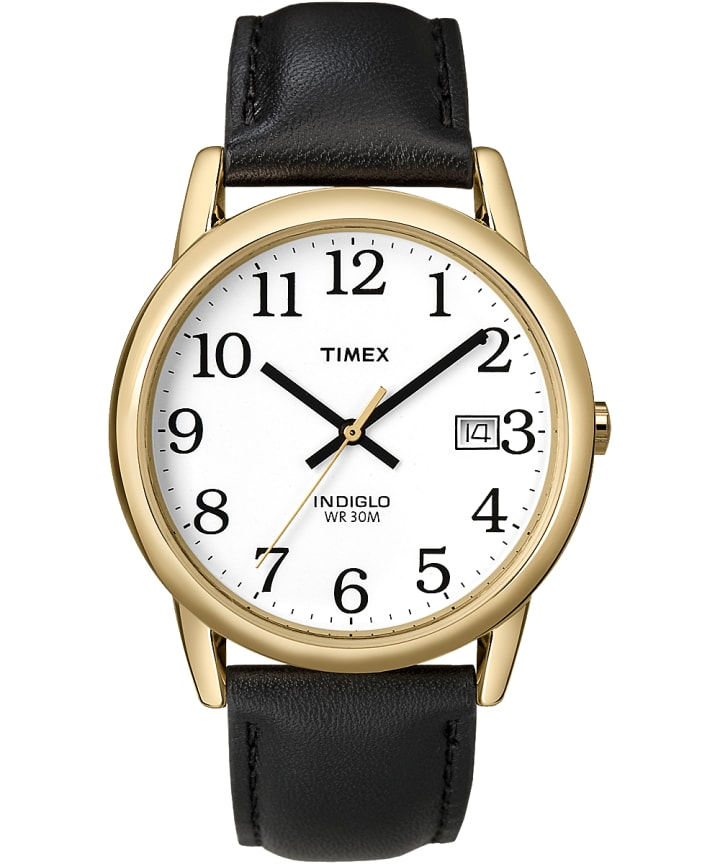 Easy Reader 35mm Leather Strap Watch Gold-Tone/Black/White large