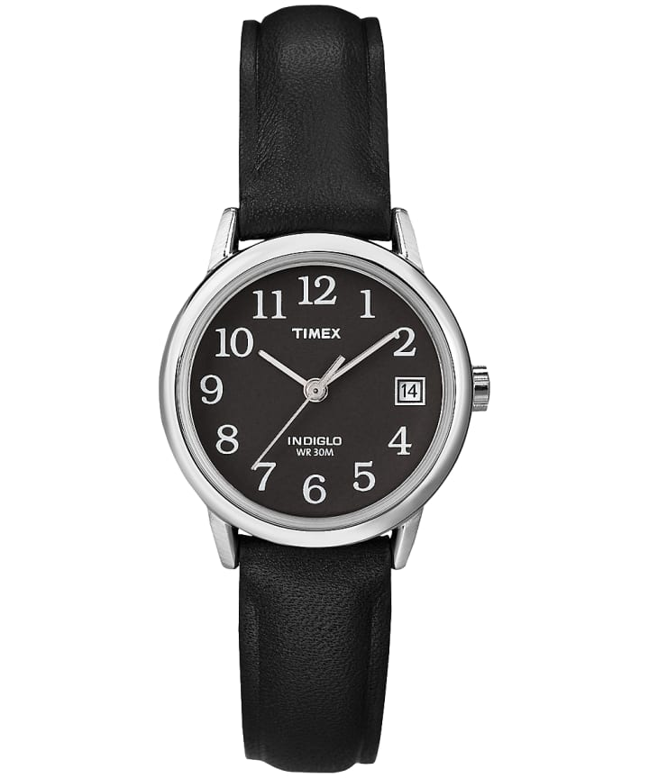 Easy Reader 25mm Leather Strap Watch Silver-Tone/Black large