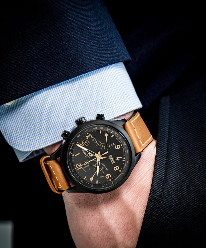 Intelligent Quartz® Flyback Chronograph 43mm Leather Strap Watch Black/Tan large