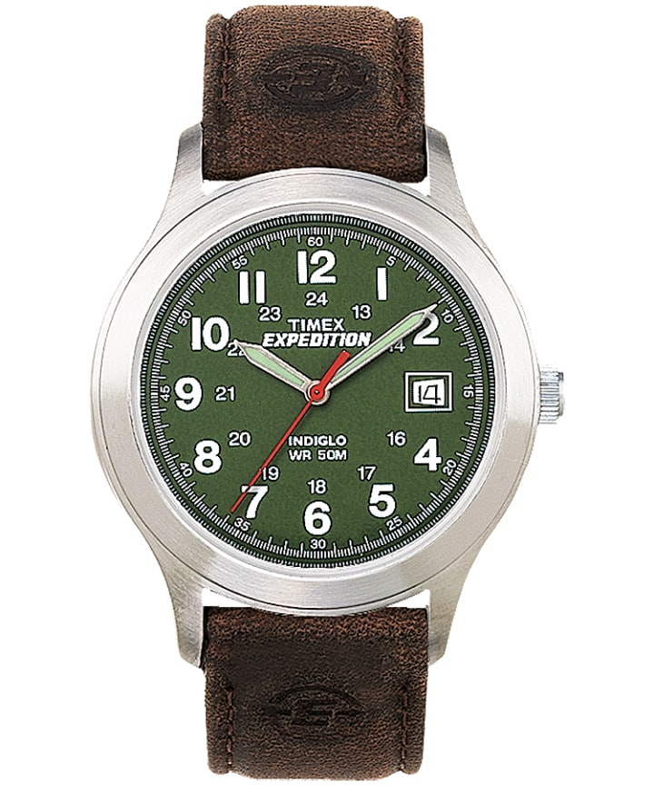 Expedition Metal Field 39mm Leather Strap Watch Silver-Tone/Brown/Green large