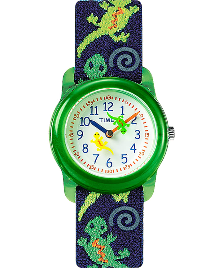 TIMEX TIME MACHINES® 29mm Green Gecko Elastic Fabric Kids Watch Green/Blue/White large