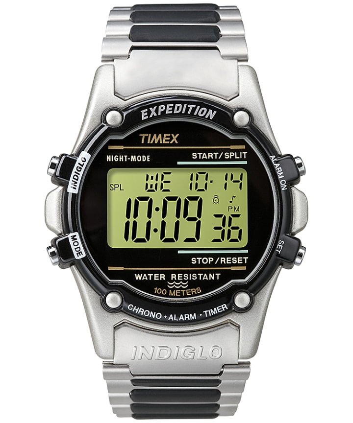 Expedition Atlantis 40mm Bracelet Watch Silver-Tone/Stainless-Steel/Black large