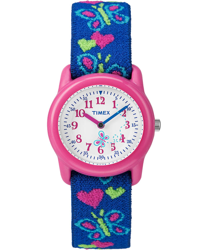 TIMEX TIME MACHINES® 29mm Butterflies and Hearts Blue Elastic Fabric Kids Watch Pink/Blue/White large