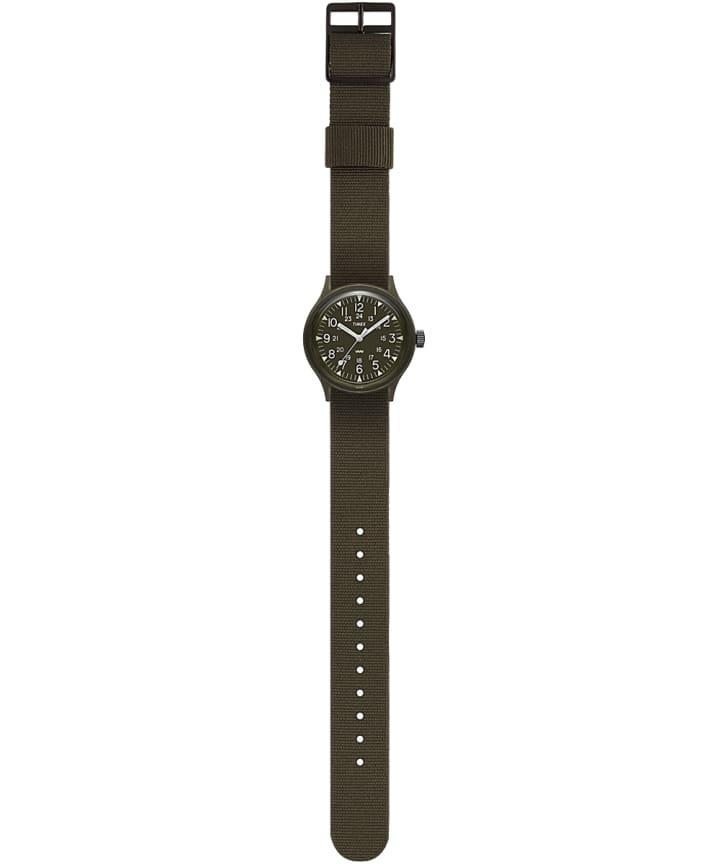MK1 36mm Military inspired Grosgrain Strap Watch Black/Green large