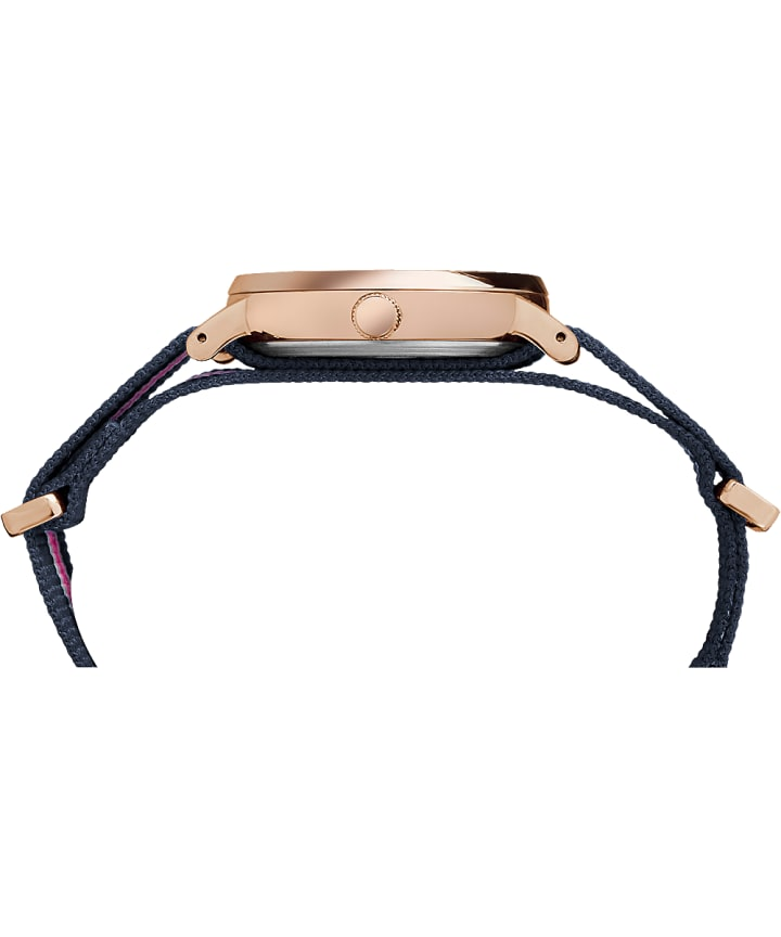 Fairfield 37mm Nylon Strap Watch Rose-Gold-Tone/Blue/White large