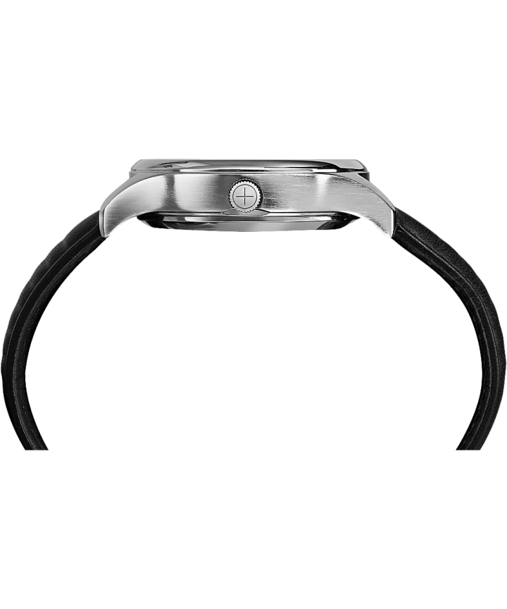 iQ+ Move 41mm Leather Strap Watch Silver-Tone/Black large