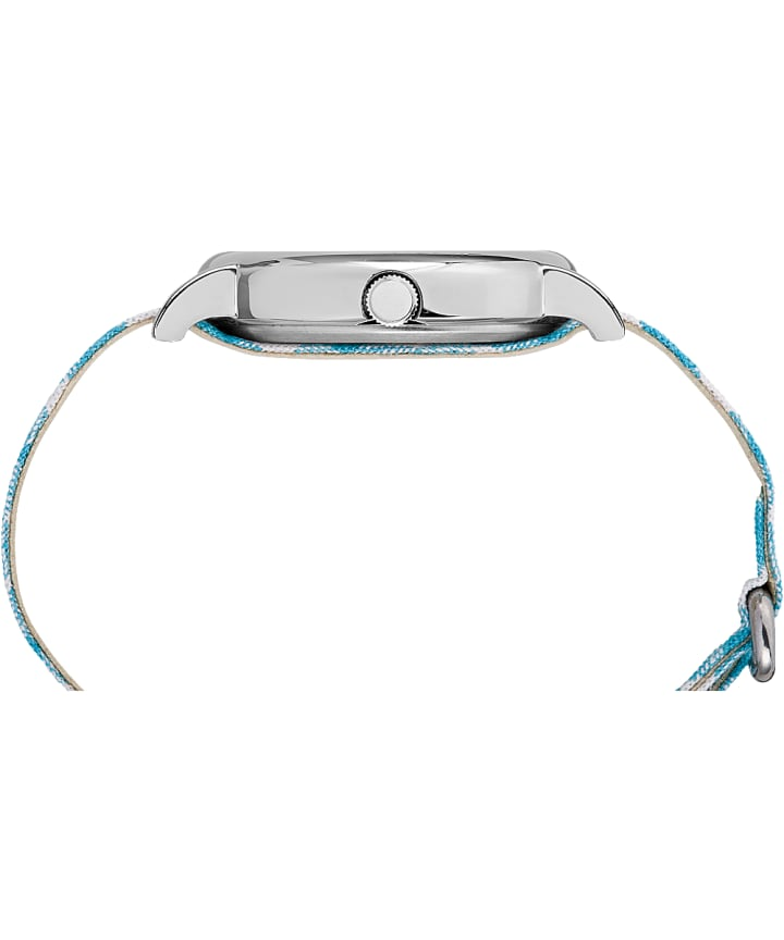 Weekender Patterned 38mm Fabric Strap Watch Chrome/Blue/White large
