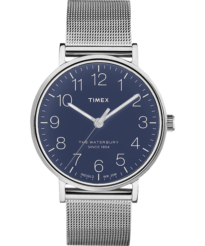 Reloj de acero inoxidable Waterbury Classic de 40 mm con correa metálica Stainless-Steel/Blue large