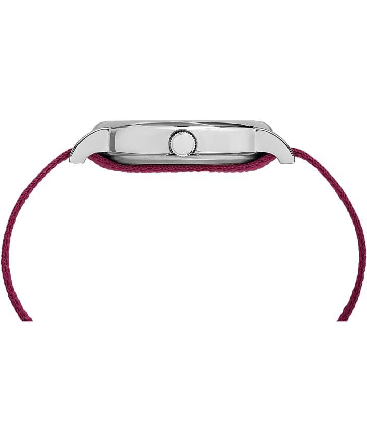 Weekender 38mm à motif, grande, bracelet en nylon chrome/rouge/crème