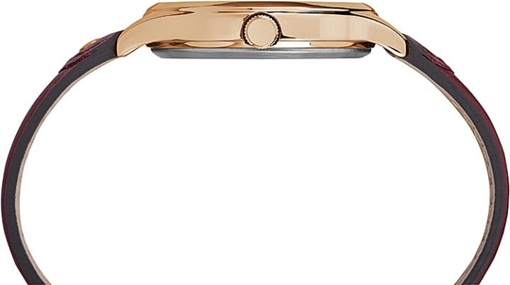 Peyton 36mm Leather Strap Watch Rose-Gold-Tone/White large