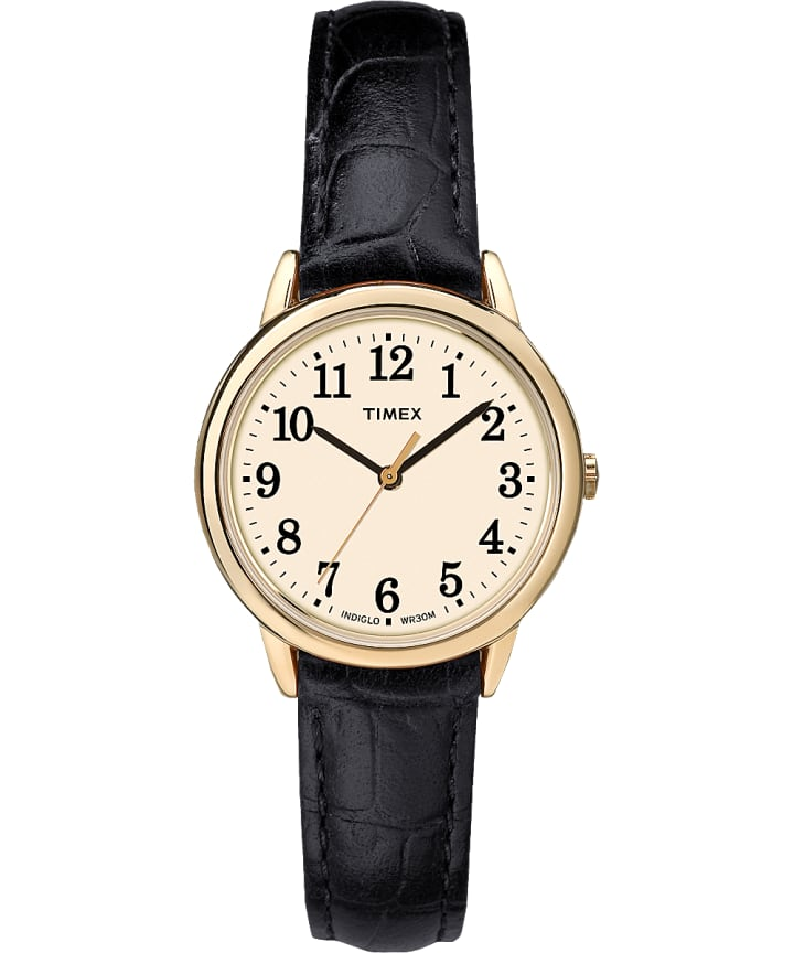 Easy Reader 30mm Leather Strap Watch Gold-Tone/Black/Cream large