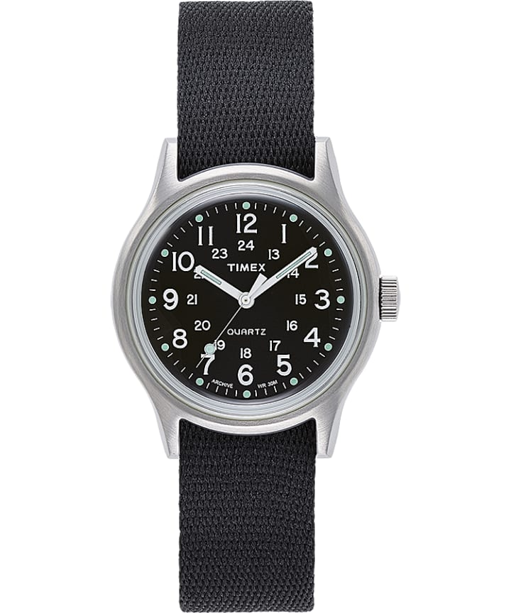 MK1 Military 36mm Grosgrain Strap Watch with Silver Dial  large