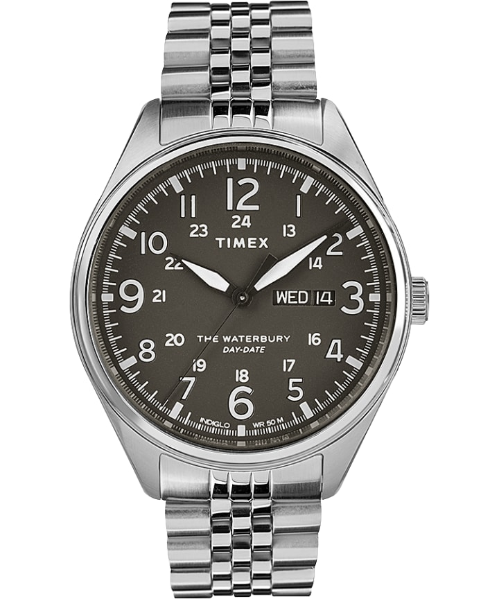 Waterbury Traditional Day Date 42mm Stainless Steel Bracelet Watch  large