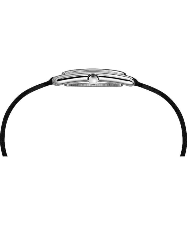 Addison 25mm Double Wrap Leather Strap Watch Chrome/Black large