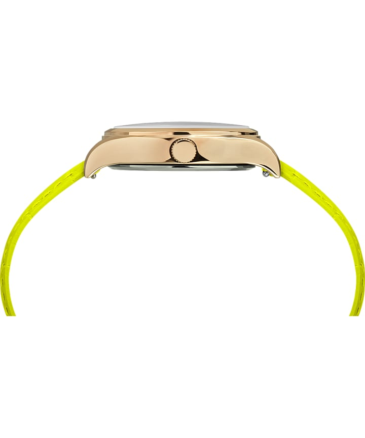 WATERBURY NEON WOMENS 34MM LEATHER STRAP WATCH Gold-Tone/Green/White large