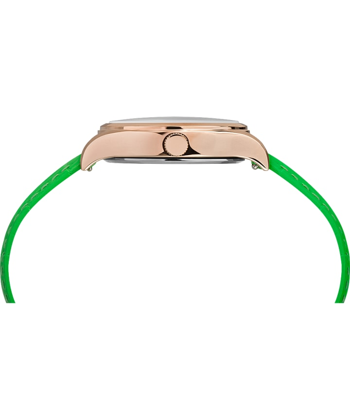 WATERBURY NEON WOMENS 34MM LEATHER STRAP WATCH Rose-Gold-Tone/Green/White large