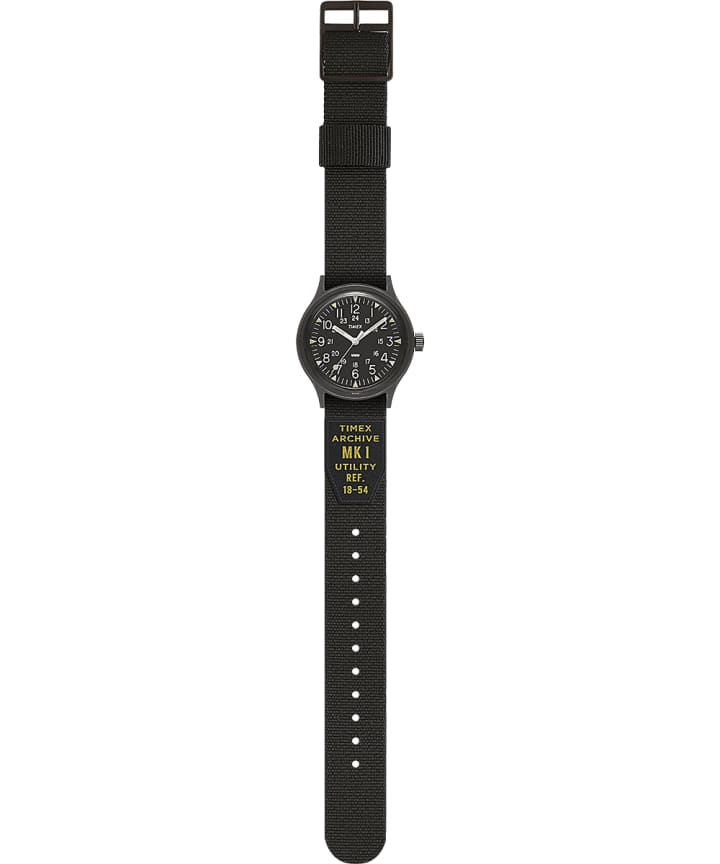 MK1 36mm Military inspired Grosgrain Strap Watch Black large