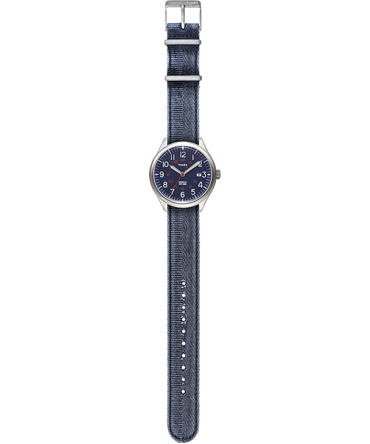 Waterbury United 38mm Stonewashed Fabric Strap Watch Stainless-Steel/Blue large