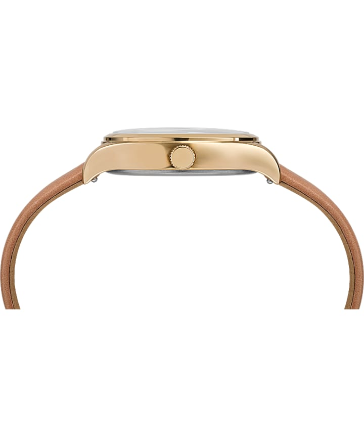 Waterbury Traditional 34mm Leather Strap Watch Gold-Tone/Tan/Yellow large