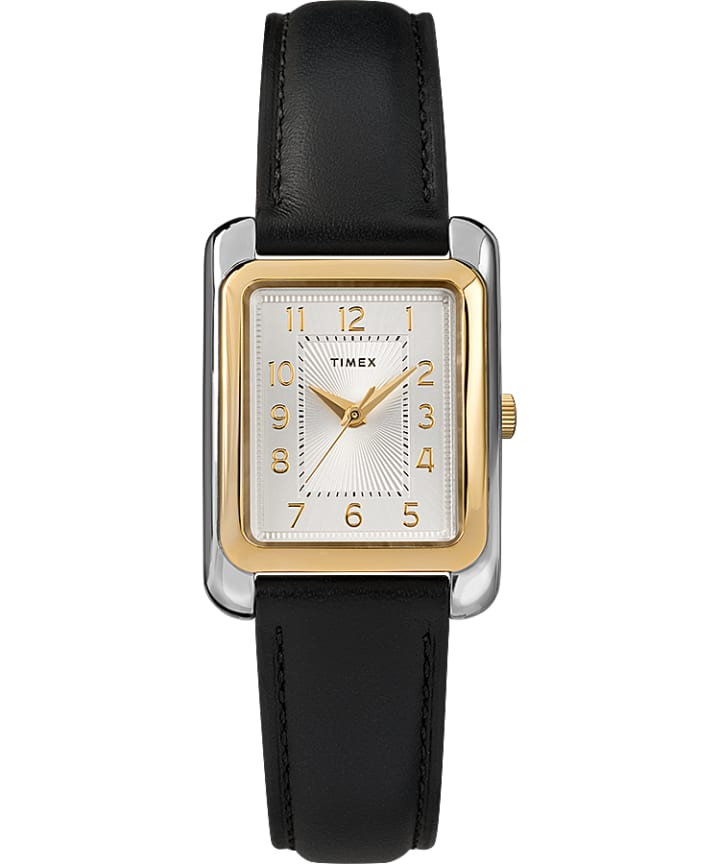 Meriden 25mm Black Leather Strap Watch Two-Tone/Black large