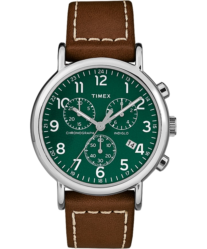 Weekender Chronograph 40mm 2-Piece Leather Strap Watch Silver-Tone/Brown/Green large