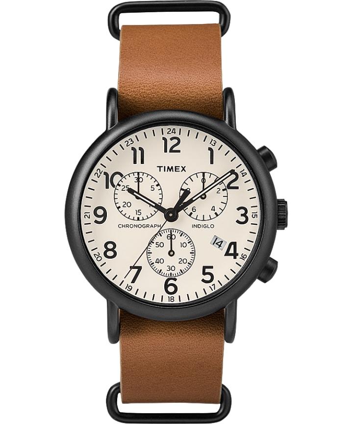 Weekender Chronograph 40mm Leather Slip-Thru Strap Watch  large