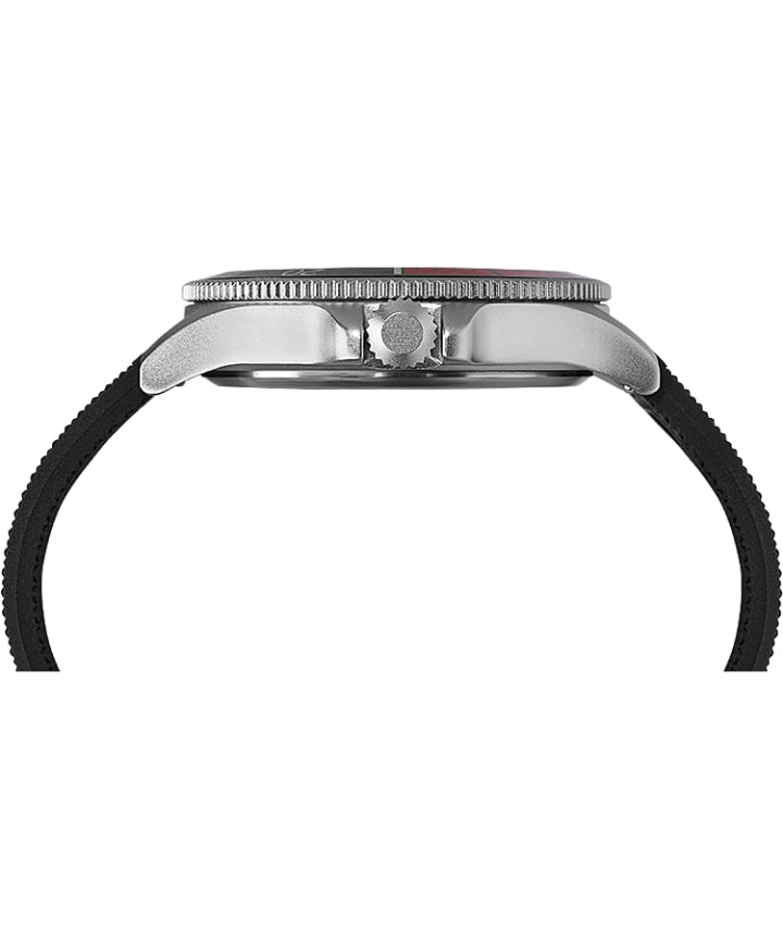 Allied® Coastline 43mm Silicone Strap Watch Silver-Tone/Black large