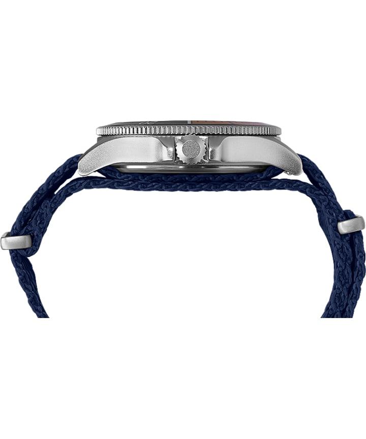 Allied® Coastline 43mm Fabric Strap Watch Silver-Tone/Blue large