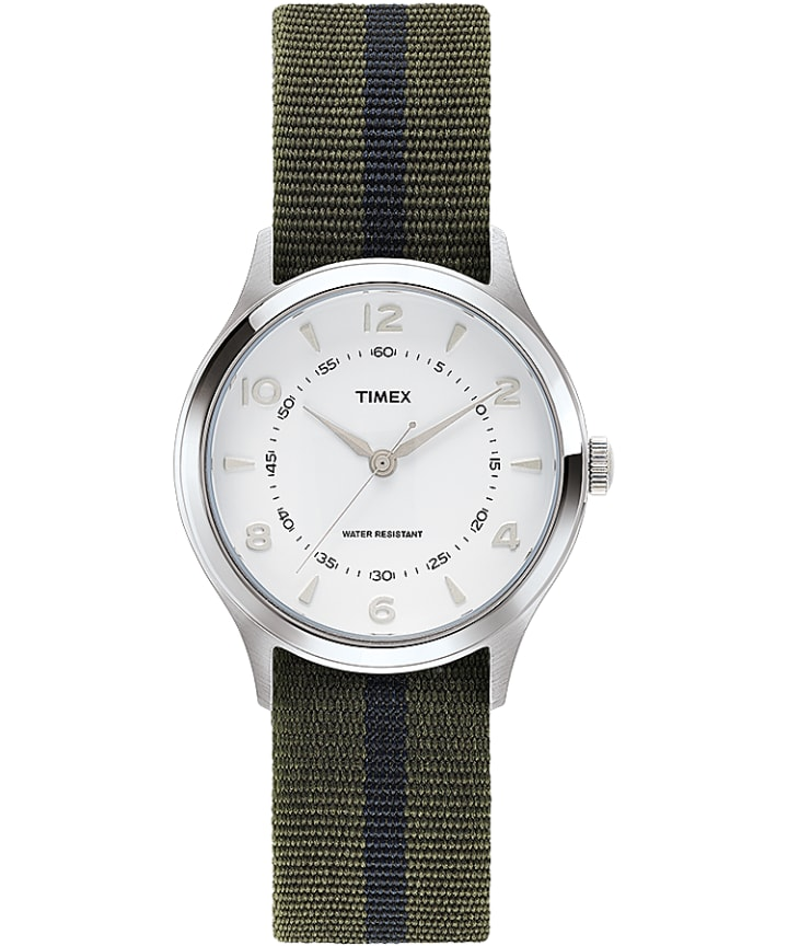 Whitney Village 38mm Grosgrain Strap with White Dial Watch  large