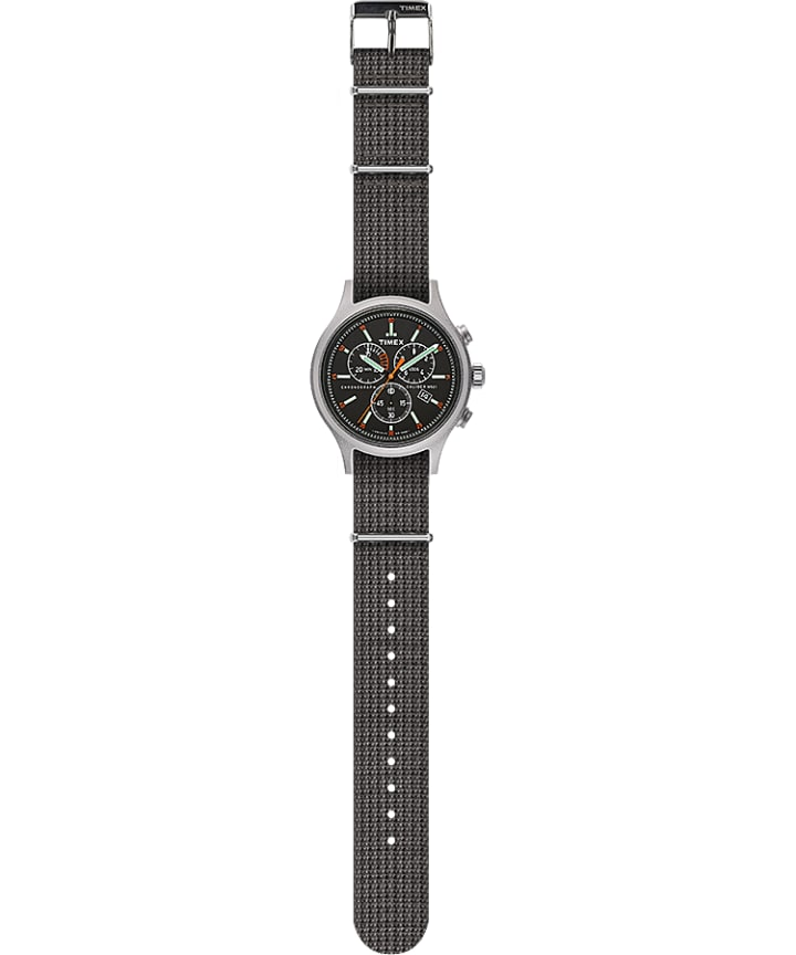Allied Chronograph 42mm Fabric Strap Watch Silver-Tone/Gray/Black large