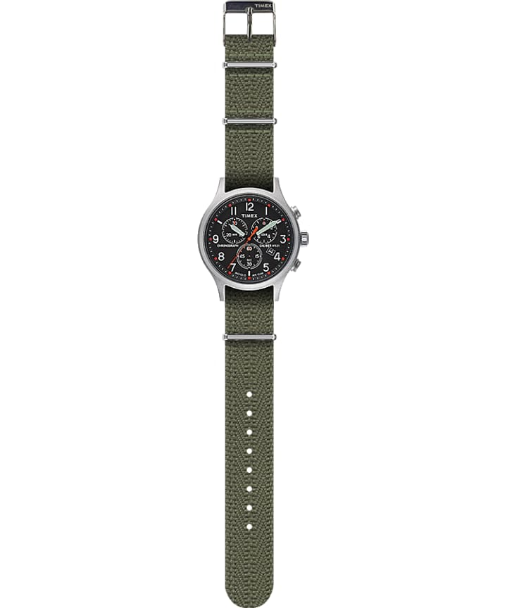 Allied Chronograph 42mm Fabric Strap Watch Silver-Tone/Green/Black large