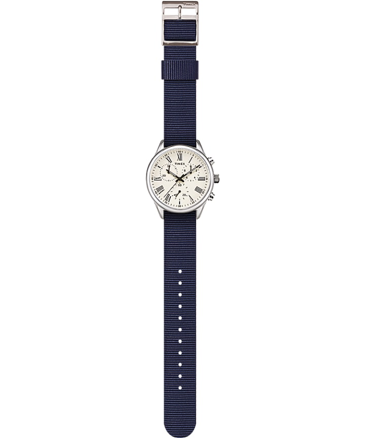 Weston Avenue 38mm Fabric Strap Watch Stainless-Steel/Blue/Cream large
