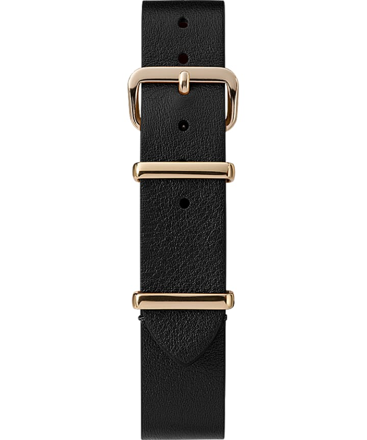 16mm Leather Slip-Thru Single Layer Strap Black large