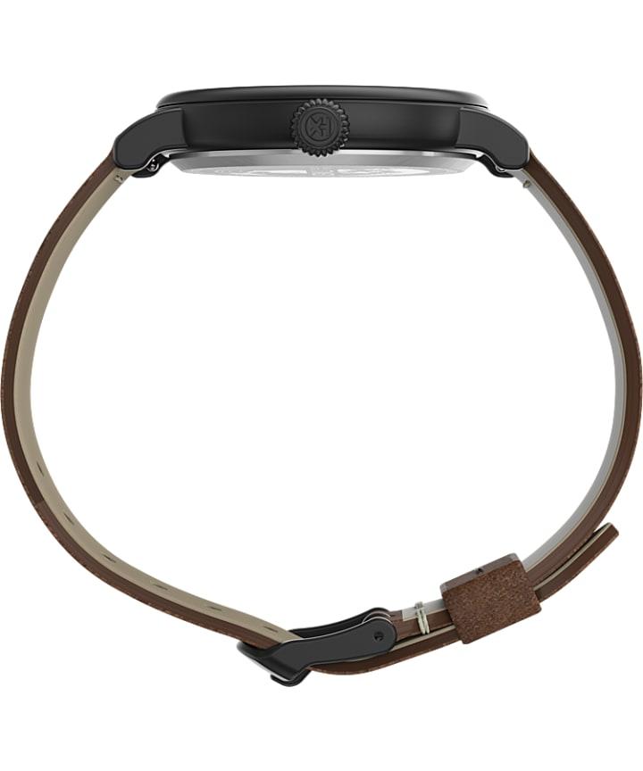 Timex® Standard 40mm Leather Strap Watch Black/Brown/Black large