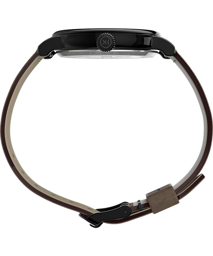 Timex® Standard 40mm Leather Strap Watch Gunmetal/Brown large