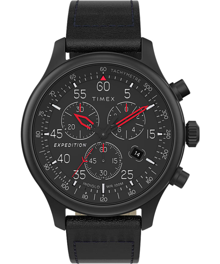 Expedition Field Chronograph 43mm Leather Strap Watch  large