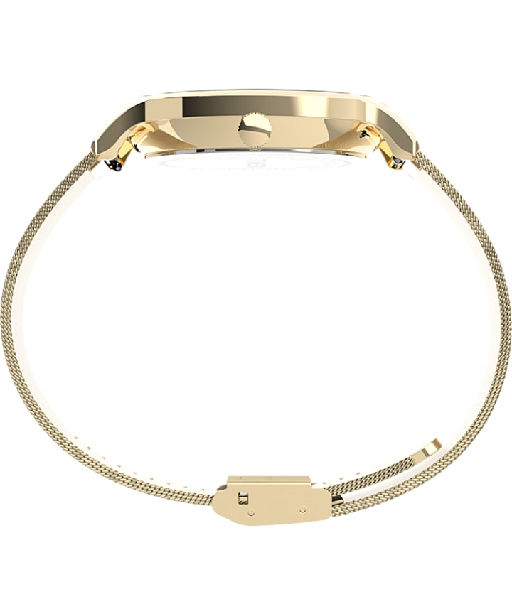 Transcend™ Multifunction 38mm Stainless Steel Mesh Band Watch Gold-Tone/White large