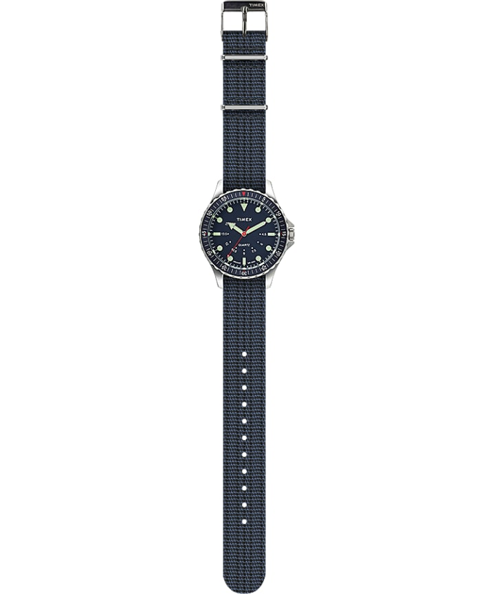 Navi Depth 38mm Fabric Strap Watch Stainless-Steel/Blue large