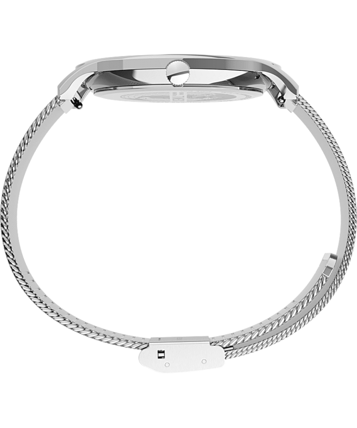 Norway 40mm Stainless Steel Mesh Band Watch Silver-Tone/Stainless-Steel/White large