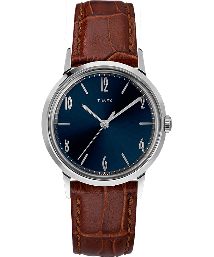 Marlin® 34mm Hand-Wound Leather Strap Watch  large