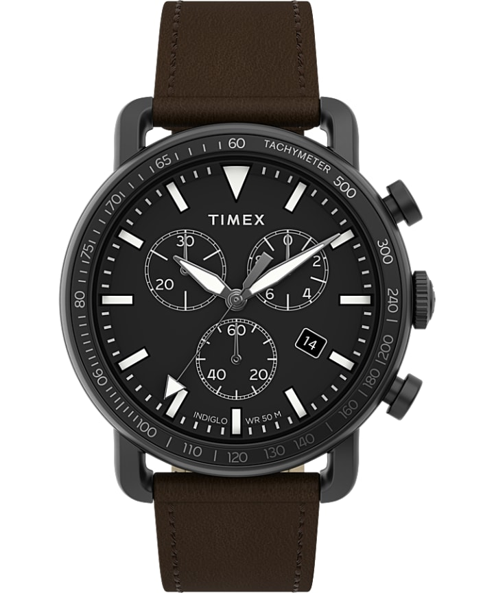 Port Chronograph 42mm Leather Strap Watch  large