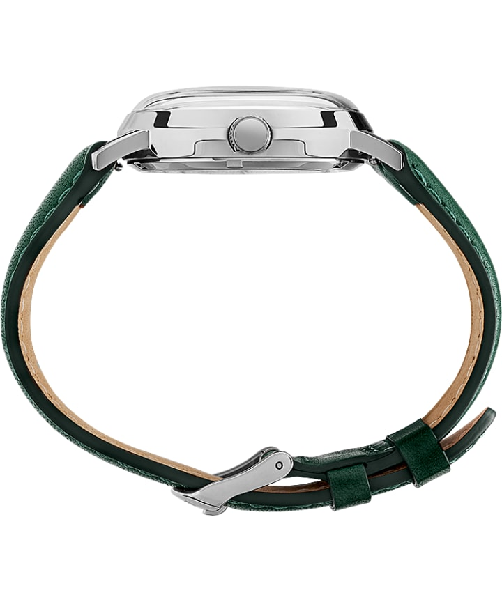 Marlin® Automatic Day-Date 40mm Leather Strap Watch Stainless-Steel/Green large