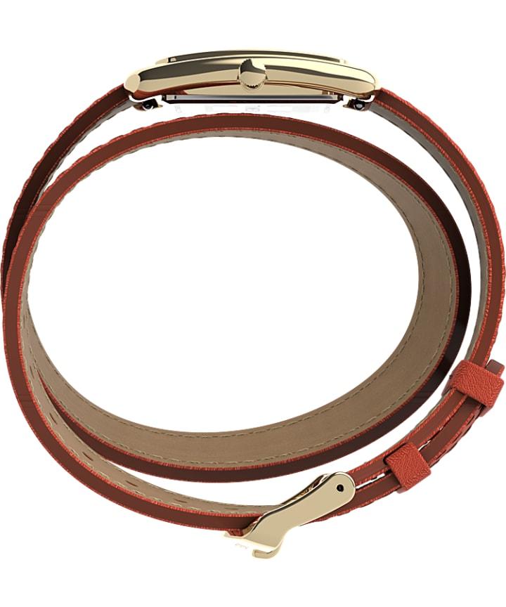 Addison 25mm Double Wrap Leather Strap Watch Gold/Orange large