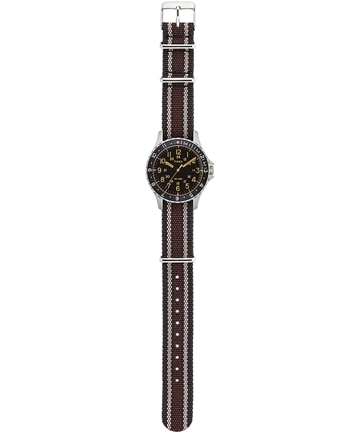 Navi Ocean 38mm Fabric Strap Watch Black/Brown large