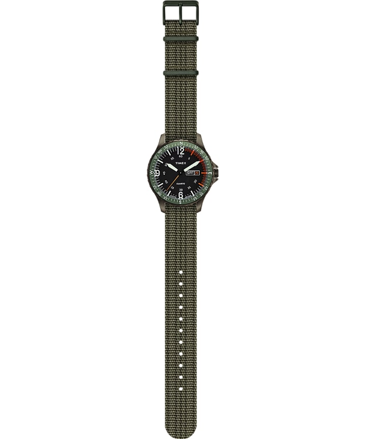 Navi Land 38mm Fabric Strap Watch Green/Green large