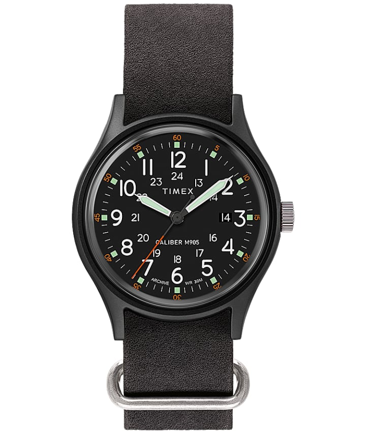 MK1 40mm Stonewashed Leather Strap Watch  large