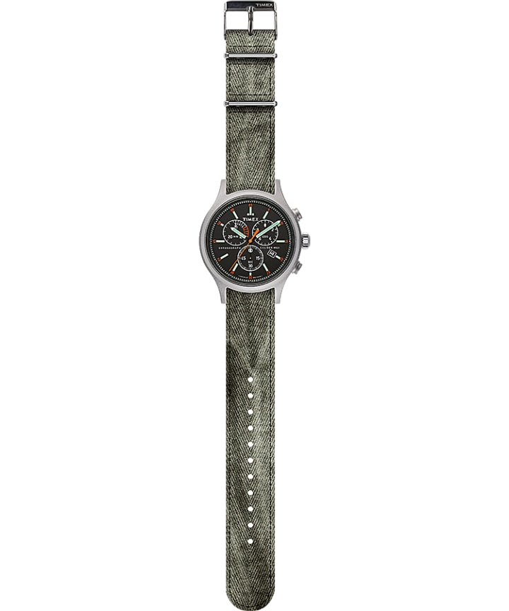 Allied Chronograph 42mm Fabric Strap Watch Silver-Tone/Black large