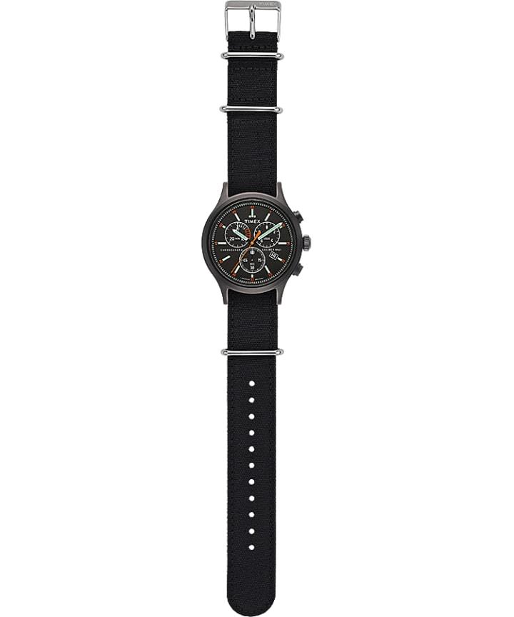 Allied Chronograph 42mm Fabric Strap Watch Black/Black/Black large