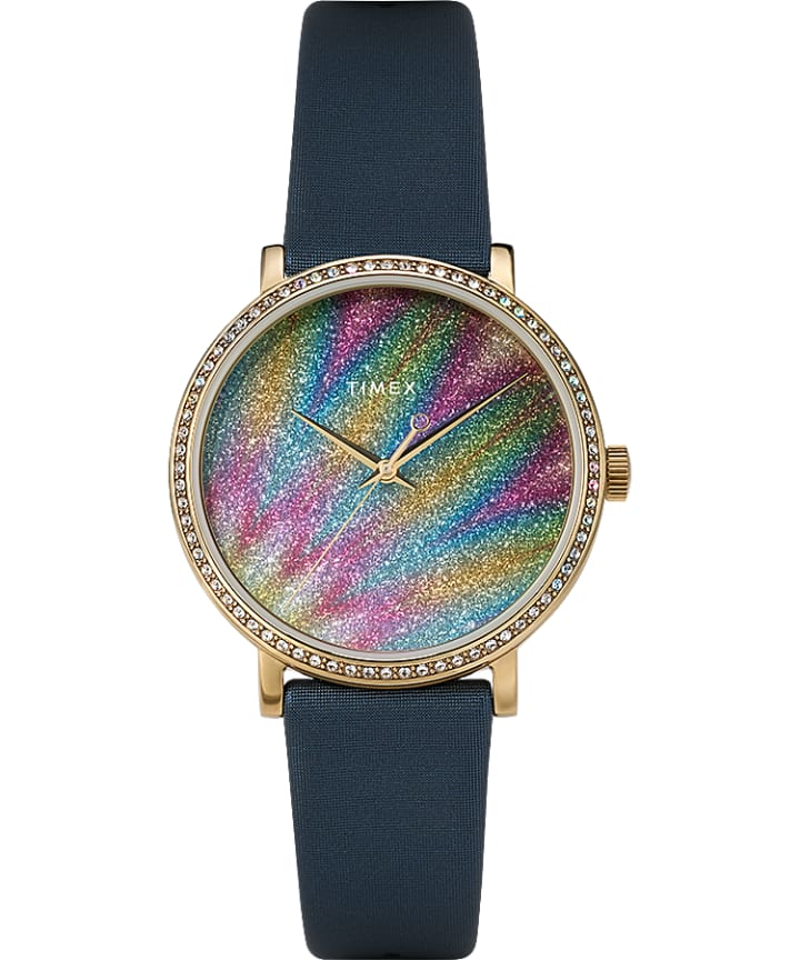 Celestial Opulence Northern Lights with Swarovski Crystals 38mm Leather Strap Watch large