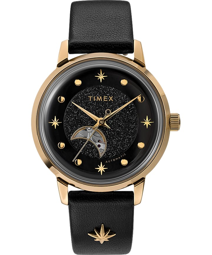 Celestial Opulence Automatic 38mm Leather Strap Watch with Open Heart Moon Dial  large